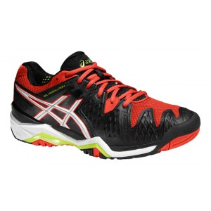 ASICS GEL RESOLUTION BLACK WHITE ORANGE 2016